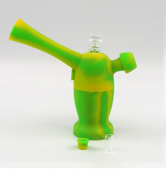 Two-Functional Atmon Nereus Silicone DAB Rig Bubbler with Quartz Titanium Nail and Glass Tube pictures & photos