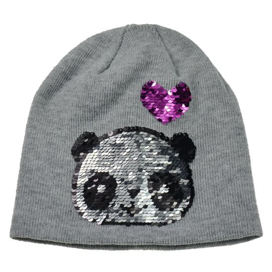 Custom High Quality Winter Knitted Hat Acrylic Hat with Cartoon Reversible Sequins (HY18101801A) (HY18101802A)