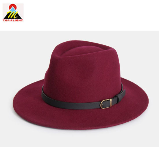 China Lady Custom Wool Fedora Bucket Hat with Leather Strap - China ... f38a16fb9c6b