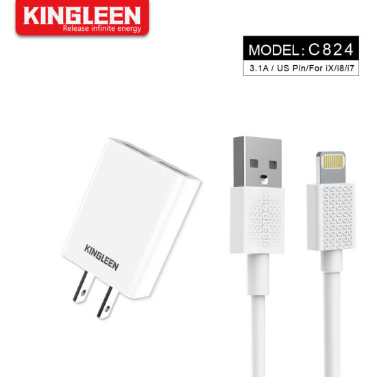Lightning Cable with Travel Adapter Home Wall Charger Kit, iPhone Charger Wire Data Sync Charging Cord