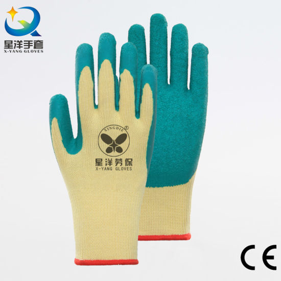 10g T/C Shell Latex Palm Coated Crinkle Finish Working Safety Glove with CE, En388, En420 Certificated