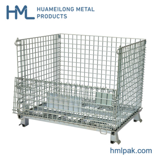 Welded Galvanized Collapsible Stackable Storage Heavy Duty Portable Shipping Steel Wire Mesh Cage Containers