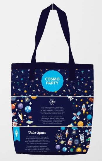 Space Star Series Custom Logo Printing Bag Black Tote Bag