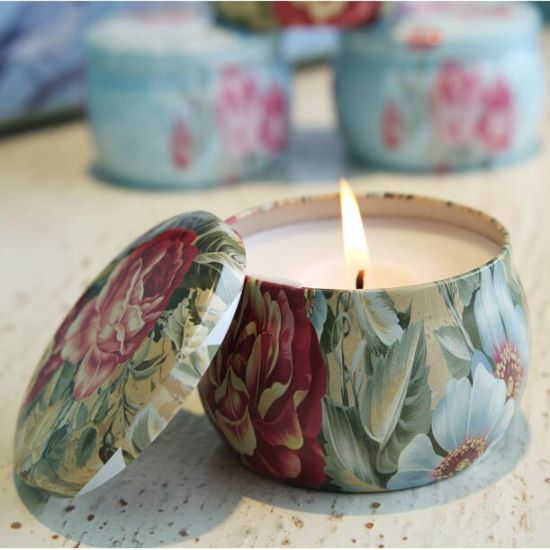 China Top Qualitypopular Flower Painted Tin Can Candle with