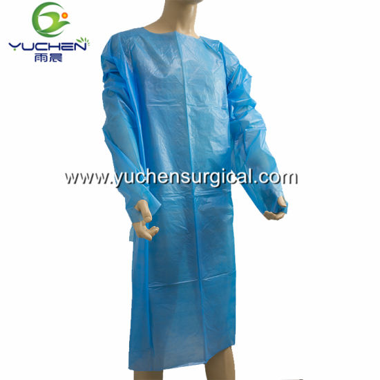 Customized Medical Disposable CPE Isolation Gown with Thumb Hook for Hospital