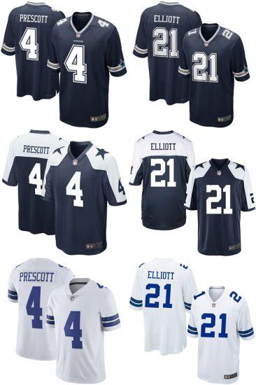 new product 6b31d 8b012 China Cowboys Dak Prescott #4 Ezekiel Elliott #21 Throwback ...