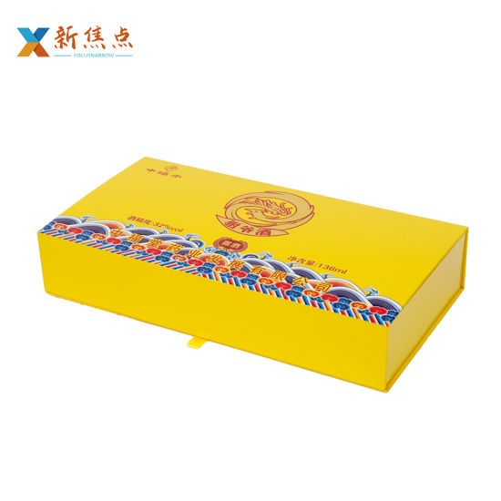 Wholesale Printing Logo Book Shape Flap Wine Packaging Gift Box