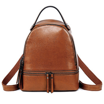 China Factory Wholesale Korean Style Outdoor Casual Shoulder Travel Bag Simple Design Leisure Cow Leather Backpack for Girls