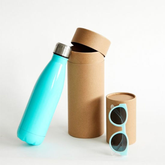 Firstsail Wholesale Biodegradable Cylinder Brown Kraft Paper Packing Box Gift Sunglasses Water Bottle Vacuum Cup Round Tube Packaging