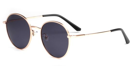 High Quality Round Black Shade, Rose Gold Metal Sunglasses