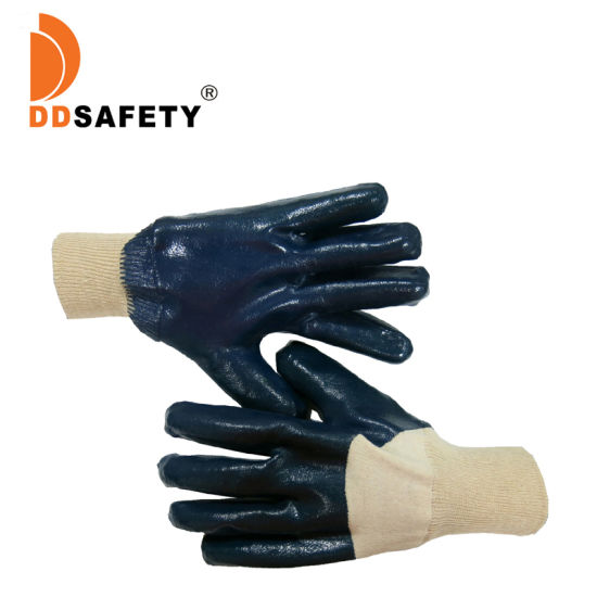 3/4 Blue Nitrile Coated Cotton Safety Gloves