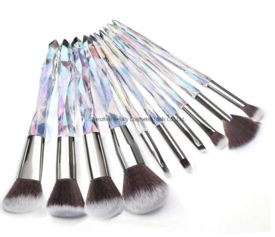 10PCS Crystal Wand Handle Makeup Brush for Foundation, Concealer, Eyeshadow, Eyeliner, Cosmetic Brush pictures & photos