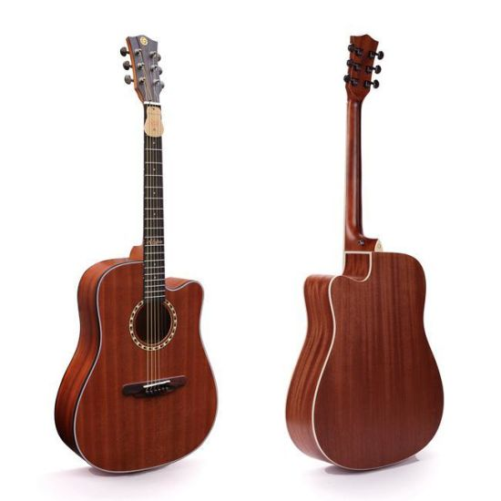 New! 41 Inch Handmade Solid Spruce Top and Solid Mahogany Side and Back Acoustic Guitar with Pattern