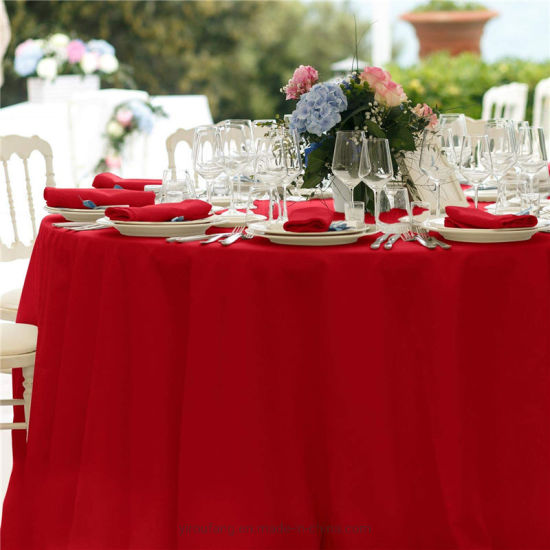 China Round Dinner Tablecloth Red 90