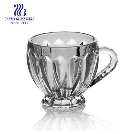 7oz Embossed Design Glass Mug for Coffee and Tea GB096006xc