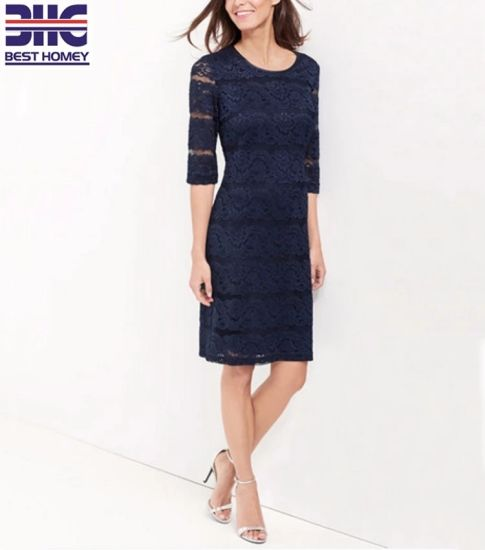 OEM Factory Career Lace Dress 3/4 Sleeve Length Crew Neck Tunic Dress