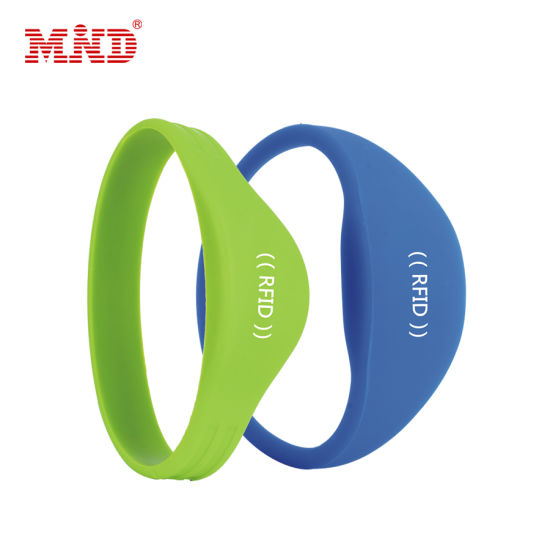 Customized Logo Printing Reusable NFC RFID Silicone Wristband pictures & photos