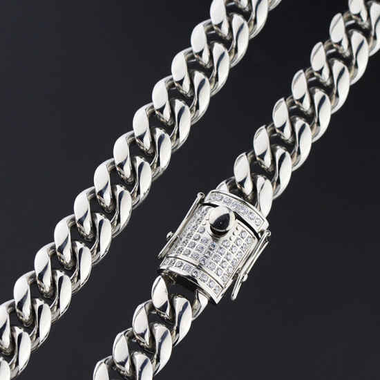 Gold Price 925 Sterling Silver Ice Out Miami Cuban Link Chain