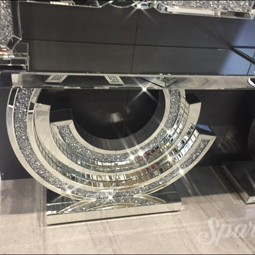 Coasola De Espejos De crystal New Arrive Crush Diamond Console Table with One Drawers