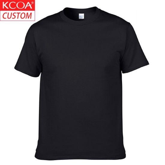 Wholesale Cheap Short Sleeve Plain Blank Black Men's Cotton T-Shirt