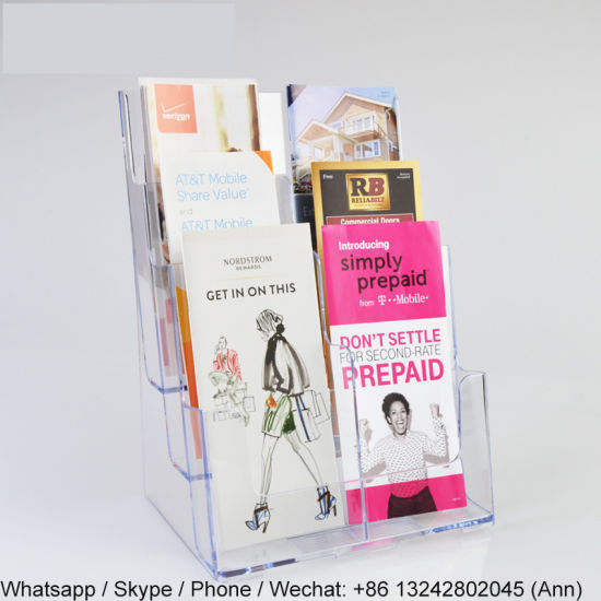4 Pocket Acrylic Magazine and Newspaper Standing Display Rack/Brochure Holder pictures & photos
