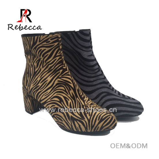 685a0330fb2e Women Sexy Leopard Print Block Heel Ankle Women Boots Leather Winter Shoes