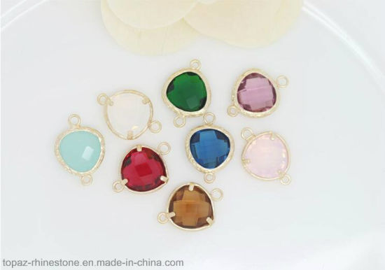 Wholesale Gold Rim Glass Stone Charms Pendant Jewelry Finding Set Glass Stones (Heart/13*17.5mm) pictures & photos