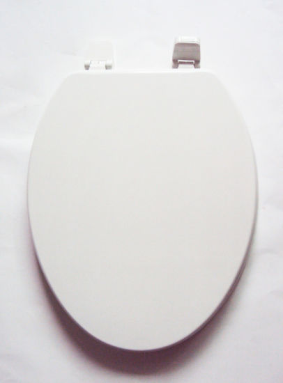 China American 19inch Enlongated White MDF Mold Wood Toilet Seat ...