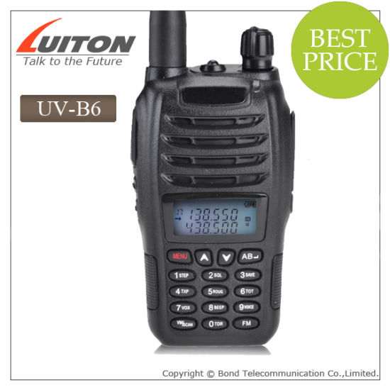 Wholesale 2014 New Baofeng UV-B6 Dual Band VHF UHF 5W 99 Channels FM PMR Portable Two-Way Radio Baofeng pictures & photos