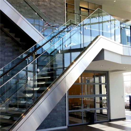 Indoor Stair U Channel Balustrade Aluminum Glass Railing