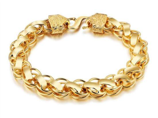 Gold Bracelet Men Jewelry Color Chain Link Whole Trendy Rock Style Copper Mens Bracelets