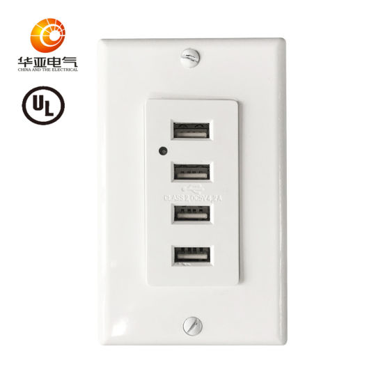 American 4-Port USB Wall Charger Receptacle UL Listed