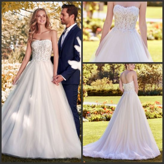 China Sweetheart A Line Bridal Dress White Tulle Strapless Lace
