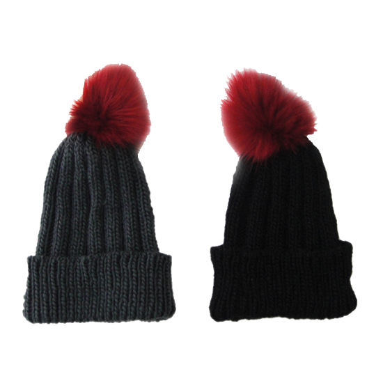 Lady Winter Warm Fashion Roving Bobble Hat with Faux Fur Pompom