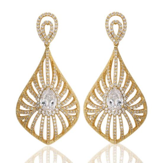 China Tops Design Simple Dubai Gold Plated Jewelry Gold Earrings