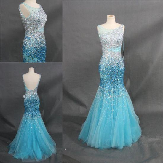 6d9a3389ffd2 China Heavy Beading Crystal Stones Sky Blue Dress Mermaid Evening ...
