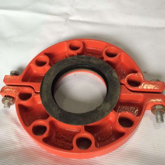 FM/UL Certificated Ductile Iron Pipe Fittings Grooved Adaptor Flange for Engineering Construction