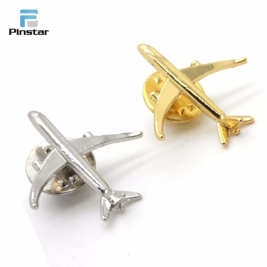 ffa4eef46ae Gold Silver Metal 3D Model Airplane Aircraft Soft Enamel Lapel Pin pictures  & photos