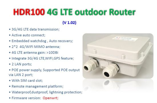 Wireless Outdoor 4G Router with Support VPN Client and Apn/Vpdn