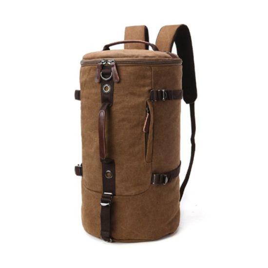 Custom Travel Knapsack Vintage Cylinder Rucksack Canvas and Leather Backpack for Men
