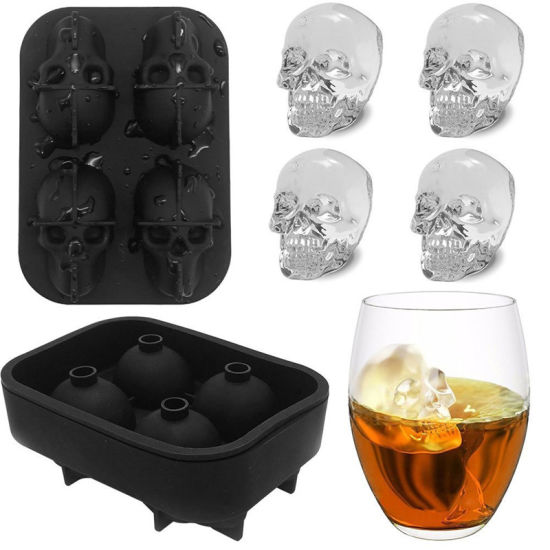 3D Skull Silicone 4-Cavity DIY Ice Maker Household Use