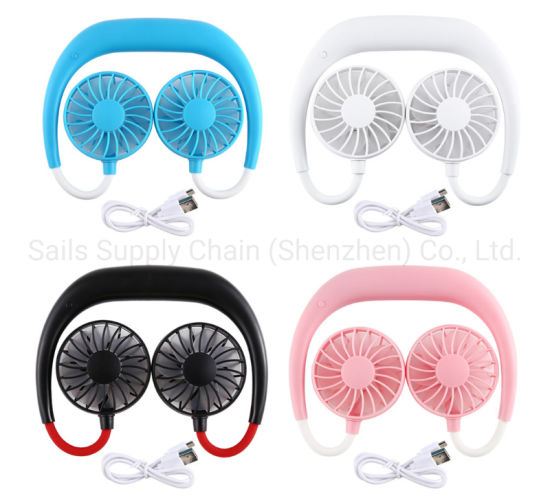 USB Rechargeable Electric Type Neck Mini Fan with 3 Speed