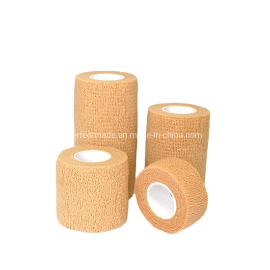 Waterproof Medical Knee Self Adheren Non Woven Easy Tear Self Adhesive Vet Wrap Cohesive Elastic Bandage