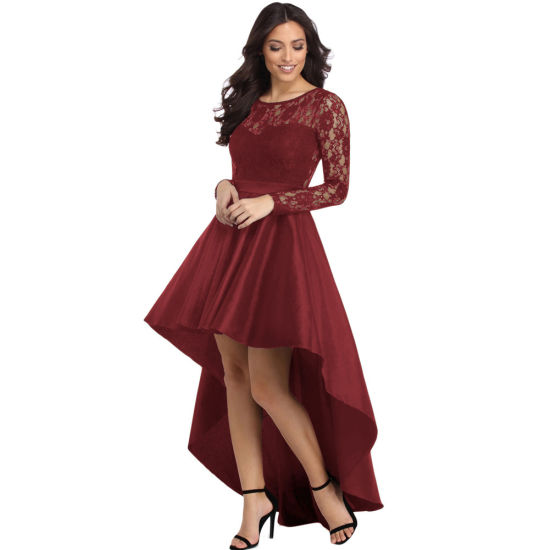 Womens Long Sleeve Lace High Low Satin Prom Evening Cocktail Party Dress
