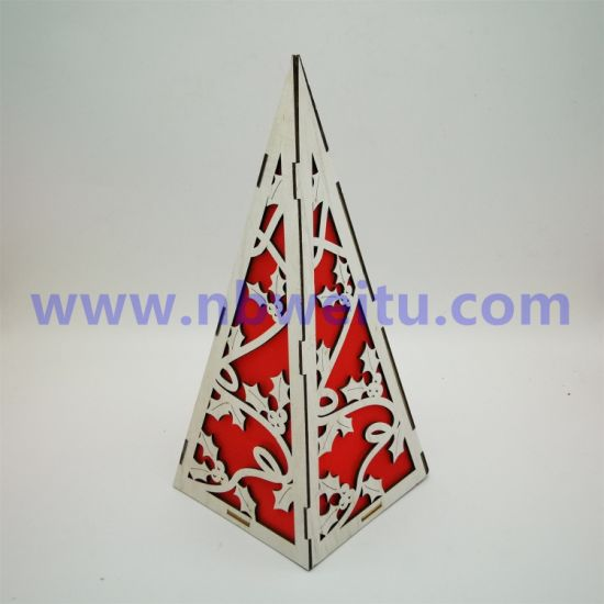 Factory Price Christmas Decoration Wooden Pyramid Shaped LED Night Light pictures & photos