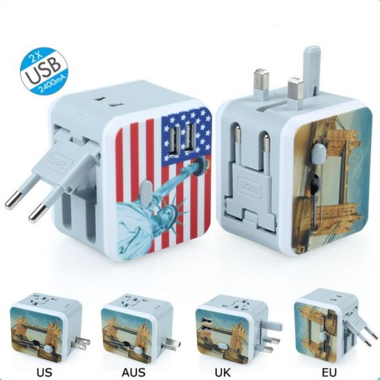 Mini Size 2 USB Port Us, EU, Aus, UK Plug All in One Universal USB Travel Adapter pictures & photos