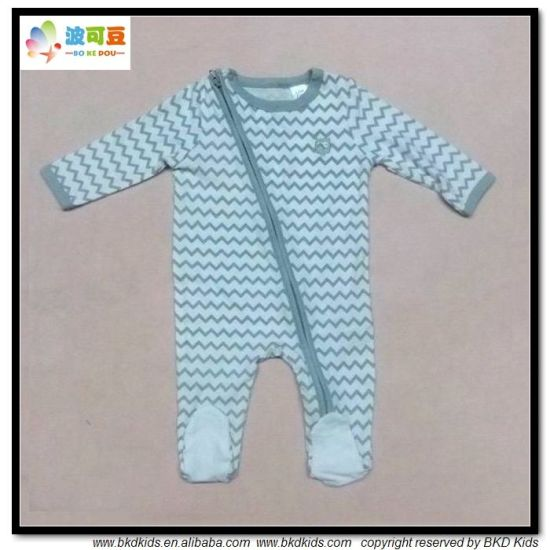 Footed Style Baby Garment Wave Printing Newborn Rompers
