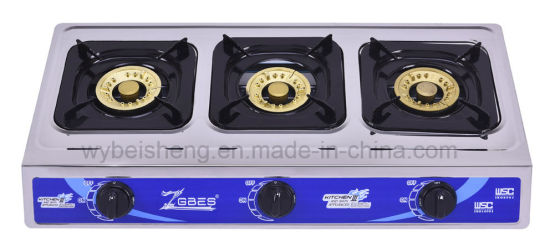 Three Burners Gas Cooker, Stainless Steel Panel