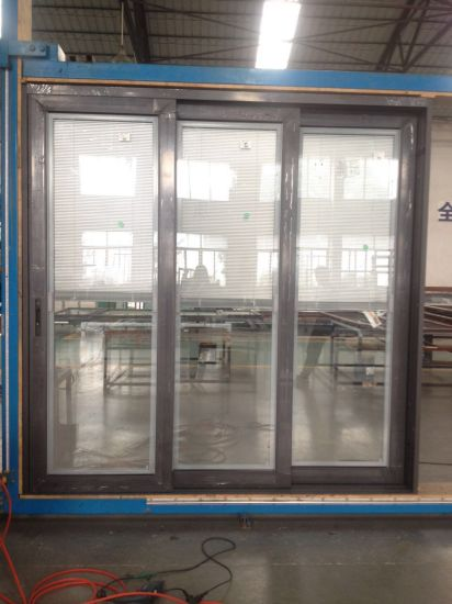 Factory Price Aluminum Double Glass Sliding Door with Venetian Blinds pictures & photos