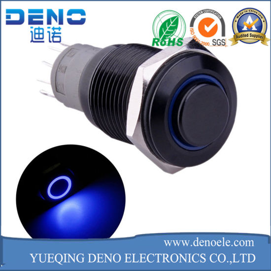 China Blue Ring LED Metal Momentary Push Button Switch Car